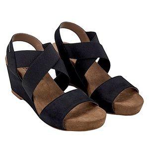 Mephisto BARBARA Black Nubuck Wedge Heel Sandal